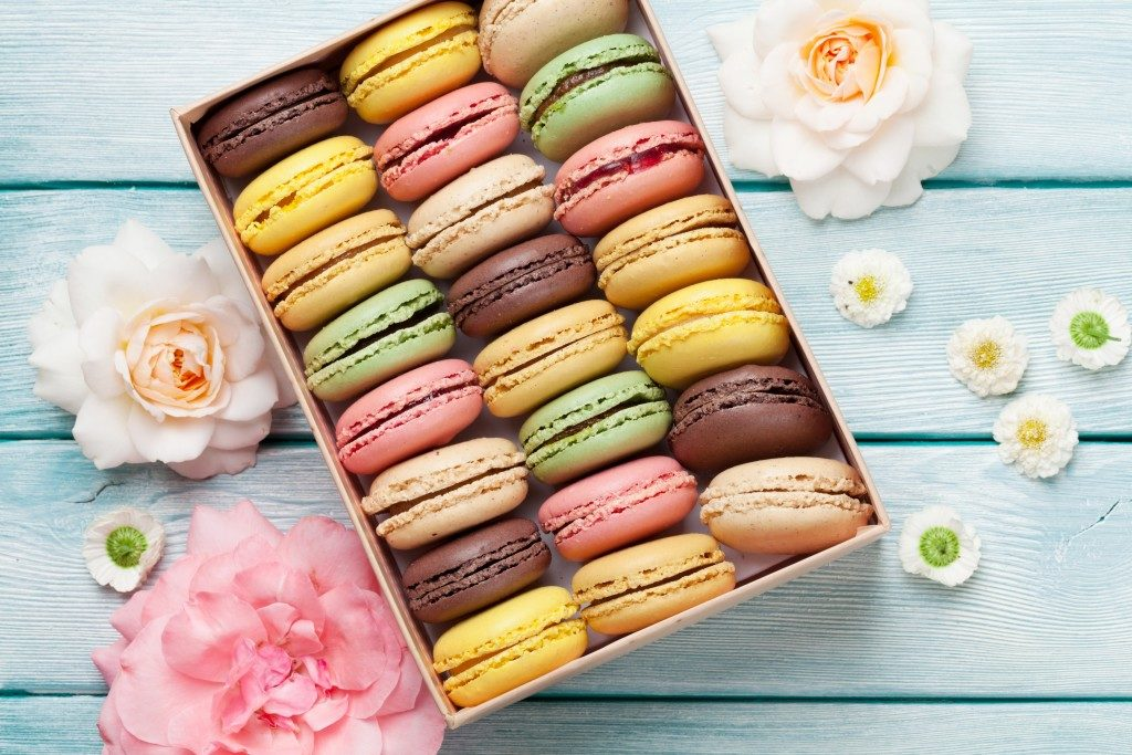 box of colorful macaroons