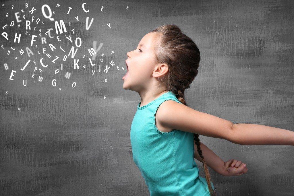 Little girl shouting concept