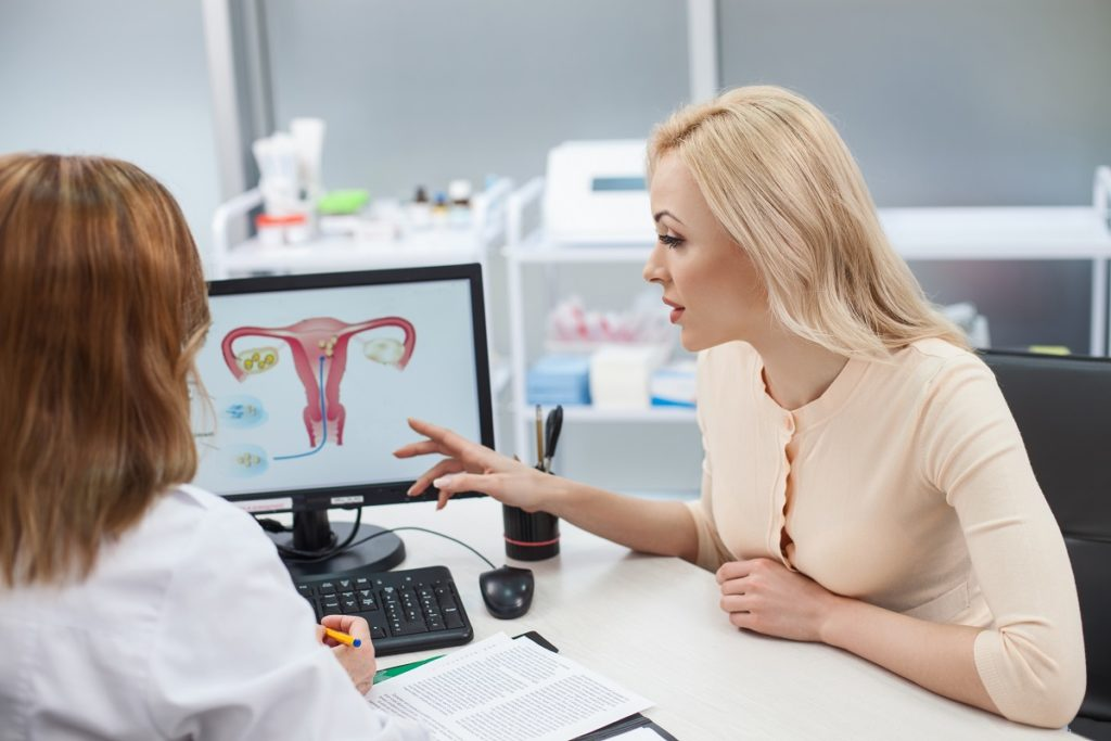 doctor discussing uterus to a woman