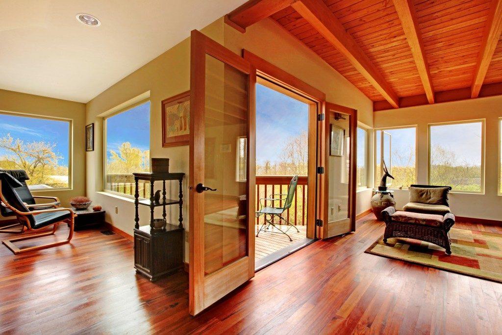 wooden floor and window