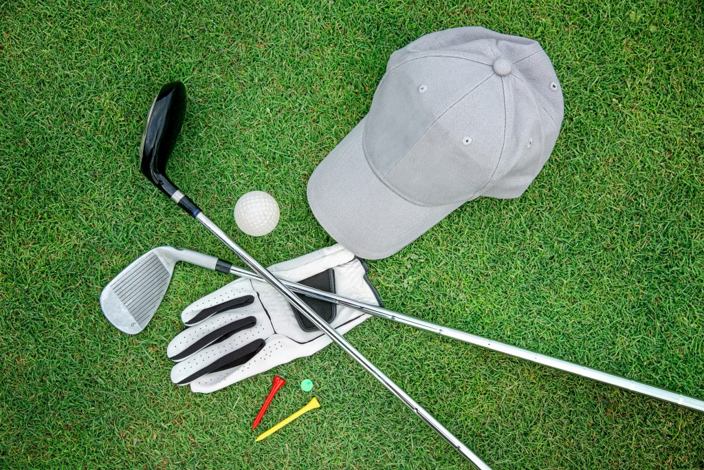 golf essentials on the lawn