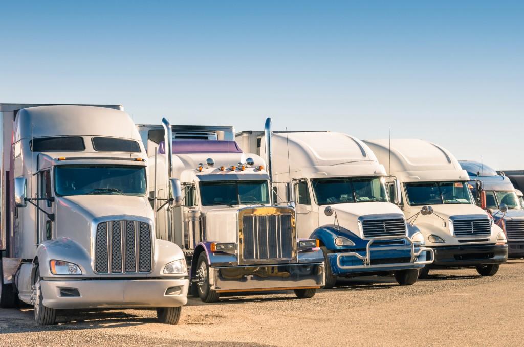 trucks at a parking lot