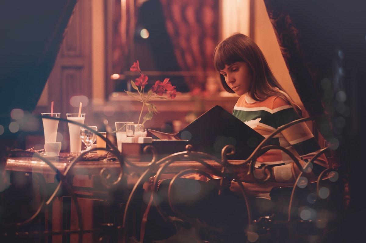 looking at restaurant's menu